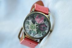 Leather watch watercolor watch face floral watch by spicylife2046, $9.95