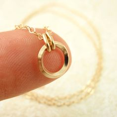 Endless On Edge Circle Pendant in  14kt Gold Filled by unkamengifts,  $ 20.00