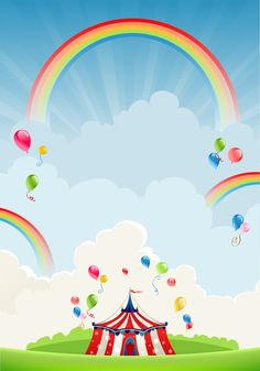 Rainbows Stretched Canvas 17660 by Wall Art Prints Carnival Themed Party, Circus Theme, Party Themes, Little Pony Birthday Party, Carnival Birthday, Circus Background, Wall Art Prints, Canvas Prints, Rainbow Art