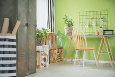 ◕ [Nulled]▮ Creative Green Room With Desk Accessories Apartment Beautiful Bright Chair Color Of The Year