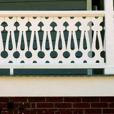 Front Porch Railings: Options, Designs, and Installation Tips porch balustrade using lattice panel in sawn wood design Porch Balusters, Wood Deck Railing, Loft Railing, Front Porch Railings, Stair Railing, Railing Ideas, Fence Ideas, Victorian Porch, Victorian Homes