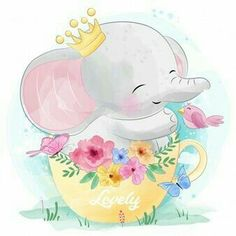 Cute Little Elephant Sitting Inside Tea Cup Vector and PNG Cute Pink Background, Elephant Background, Little Elephant, Cute Elephant, Colorful Drawings, Cute Drawings, Scrapbooking Image, Elephants Playing, Baby Animal Drawings
