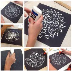 chalk and glue mandalas Middle School Art Projects, Middle School Crafts, Art Club Projects, Art Therapy Projects, Classroom Art Projects, Arts And Crafts Projects, Art School, Art Classroom, Class Projects