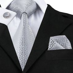 Silver Geometric Tie/Pocket Square/Cufflink Set- Men's tie, wedding, formal, business, gift