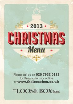 The Loose Box (Moonshine Bars), A5 flyer for a Christmas promotion. A menu was designed on the reverse.