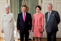 The official photography with the Royal Couple and Presidential Couple took place in Harsdorffsalen shortly after arrival at the castle. Queen Margrethe II and Prince Henrik of Denmark 4/4/13