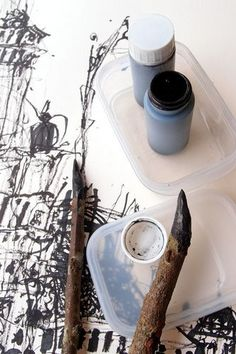 ink and wood pens
