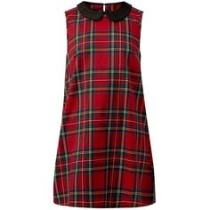 Madam Rage Red Contrast Collar Tartan Tunic Dress ($26) ❤ liked on Polyvore featuring dresses, tartan plaid dress, red sleeveless dress, red tartan plaid dress, red tartan dress and red dress