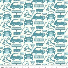 Riley Blake Cruiser Blvd Collection - Cars on Blue. For making patchwork quilt? Kids Patterns, Print Patterns, Cruiser Car, Map Quilt, Ribbon Retreat, Green Flannel, Riley Blake, Modern Fabric, Fabric Painting