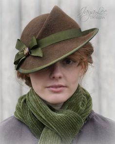 Design your own photo charms compatible with your pandora bracelets. 1930's Style Tilt Hat in Rustic Brown and Green by Jaya Lee