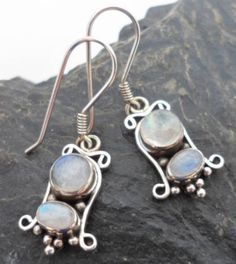 $26.00~Sterling Silver and Magical Mystical Moonstone earrings from Bali. Junes Birthstone.  Click on the picture for more details: