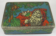 Vintage Dutch Embossed Biscuit Christmas Tin, 1930