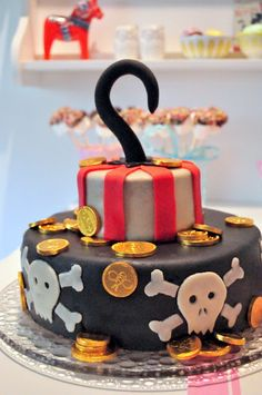 Pirate birthday: if only i could find one of these at walmart for xander's party. Fondant Cakes, Cupcake Cakes, Cake Decorating For Kids, Pirate Birthday Cake, Kid Cupcakes, Cake Shapes, Occasion Cakes, Love Cake, Cute Cakes