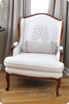 Love that they reupholstered this chair and had an embroidered monogram put on it. They also sell monogram pillows, which I pinned, for $118...