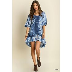 UmGee Tie Dye Peasant Dress ($35) ❤ liked on Polyvore featuring dresses, navy, tye dye dress, brown dress, tie dyed dresses, peasant dress and navy blue dress