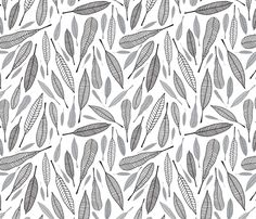Fanciful Feathers (Monochrome) fabric by brendazapotosky on Spoonflower - custom fabric