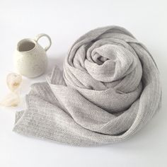 Wooden Stribes Scarf Light Grey. From a collection of fine soft basic knitwear made on hand driven knitting machines from the 1950s-1970s.