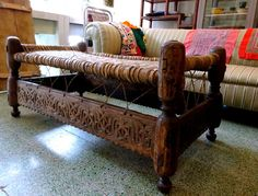Antique North African Morocco Tribal Berber Carved Wooden Bench Table
