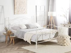 Reduced metal beds – beds – Famous Last Words White Iron Beds, White Metal Bed, Cama Super King Size, Diy Bedframe With Storage, Storage Beds, Diy Bett, King Size Bed Frame, Bed Slats, Metal Beds