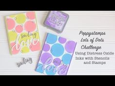 Memory Box Stencils with Distress Oxide Inks and Poppystamps stamps and dies on two cards with two different color combinations. Rebecca Keppel - YouTube -
