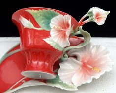 Franz Collection Porcelain 3D Island Beauty Hibiscus Flower Tea Cup w/ Spoon Set…