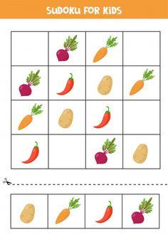 Sudoku for kids with cute cartoon vegeta... | Premium Vector #Freepik #vector #kids #cartoon #puzzle #game Nursery Worksheets, Preschool Worksheets, Preschool Activities, Vegetable Cartoon, Cartoon Vegetables, Puzzles For Kids, Sudoku Puzzles, Cartoon Cupcakes, Monster Cards