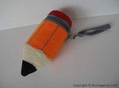 Ravelry: Crochet Pattern - PENCIL - Pencil Case / Purse pattern by Sky Magenta Crochet Pencil Case, Pencil Case Pattern, Crochet Case, Bead Crochet, Crochet Gifts, Crochet Hat For Women, Crochet For Kids, Crochet Handbags, Crochet Purses