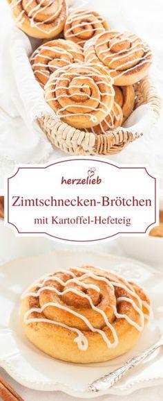 Zimtschnecken Brötchen im Kartoffel Hefeteig - ein Rezept für ein wundervolles Frühstück. Zimt ist immer eine gute Idee, wenn es darum geht zu backen! Sie sind gleichzeitig auch ein tolles Gebäck für den Kaffeetisch.
