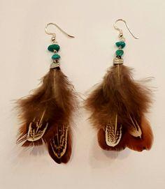 Pendientes plumas, plata de ley y turquesas.