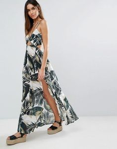 ASOS Beach Maxi Dress With Strap Detail in Mono Palm Print - Multi