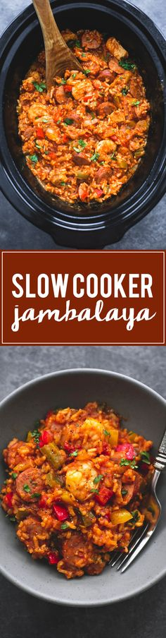 Spicy and flavorful slow cooker jambalaya is instant family favorite comfort food you will fix again and again. Way too easy and delicious… (delicious food families) Crock Pot Recipes, Crock Pot Food, Crockpot Dishes, Crock Pot Slow Cooker, New Recipes, Healthy Recipes, Soup Recipes, Recipies, Healthy Rice