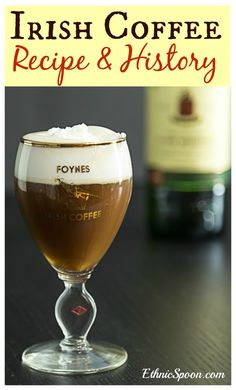 Irish coffee recipe and history from Foynes Ireland began with the flying boats . Coffee Cocktails, Cocktail Drinks, Cocktail Recipes, Alcoholic Drinks, Beverages, Fun Cocktails, Cocktail Shaker, Irish Drinks, Coffee Facts