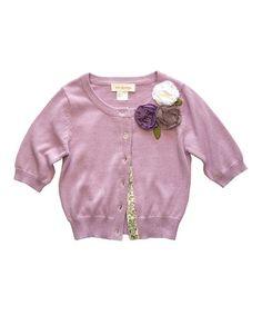Another great find on #zulily! Lavender Rosette Serena Cardigan - Toddler #zulilyfinds