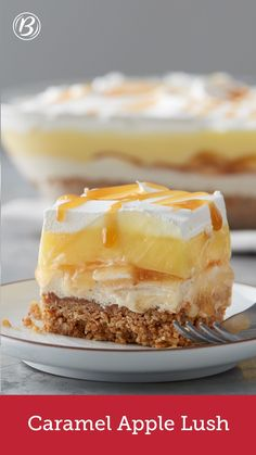 Cool, caramel-y and potluck perfect, this is an apple dessert like no other! With layers of oatmeal cookie crust, caramel cream cheese, apple pie filling, pudding and whipped topping, there's a lot to love about this Lush.