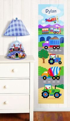 Trains Planes and Trucks Wall Decal Growth Chart by by olivekids, $35.99