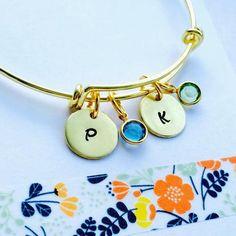 Initial Bracelet, Gold Bangle, Gold Bracelet, Gold Birthstone Bracelet, Adjustable Bracelet, Birthstone Charms
