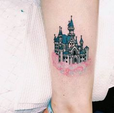 In love with the cotton candy cloud the castle is floating on Disney Castle Tattoo by Lauren Winzer