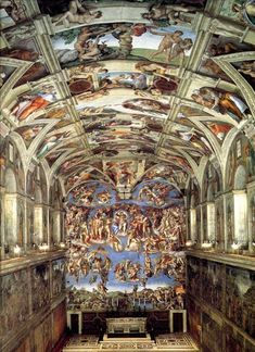 Sistine chapel- The Sistine Chapel is a large chapel in the Vatican City. It is renowned for its Renaissance art, especially the ceiling painted by Michelangelo, and attracts more than 5 million visitors each year.