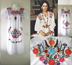 VTG 70s Mexican Folk Festival Boho Peasant Floral Embroidered Long Tunic Dress M 33.08