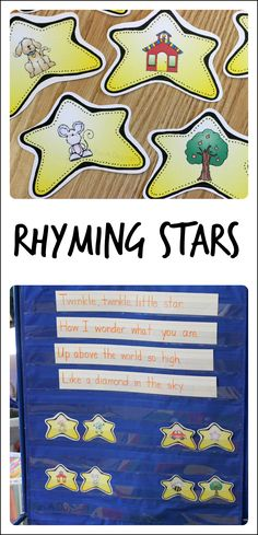 Use these free printable rhyming stars for a quick and fun rhyming activity with kids #PLAYfulpreschool
