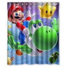 "Amazon.com: Fashionable Bathroom Collection-Custom Super Mario Shower Curtain Bath Decor Curtain 60 "" x 72 "": Home & Kitchen"