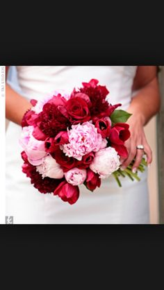 Pink and red wedding flowers.