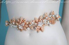 Custom Made Champagne and Golden Flower Bridal Belt Wedding