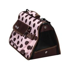 Pet Life Airline Approved Folding Zippered Polka Dot Pet Dog Carrier