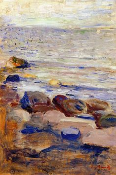 Shore - Edvard Munch, 1889 Norwegian, 1863-1944 oil on canvas, 35.5 x 24 cm Private Collection