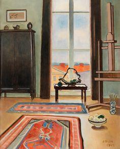 Einar Jolin (Swedish, 1890-1976), Interiör, 1947. Canvas, 61 x 50 cm.