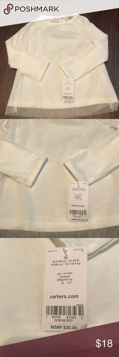 NWT White long sleeve shirt NWT beautiful white long sleeve shirt. Has a white tulle overlay. Two buttons on the back. Can be dressed up or down. Size 3T Carter's Shirts & Tops Tees - Long Sleeve