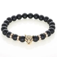 Beautifully handcrafted, this stunning Leopard head is plated with 14k Gold. It is the perfect addition to your watch - Natural Black Onyx beads with 7-8mm diameter - 14k Gold plated leopard head - Hi