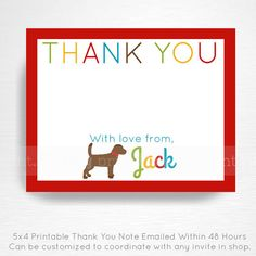 Puppy Dog Chocolate Lab Birthday Party Digital Thank You Note YOU PRINT  This is an emailed file, nothing will be shipped to you. Please include