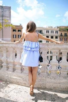 Southern Curls & Pearls: Blue Ruffle Dress in Rome